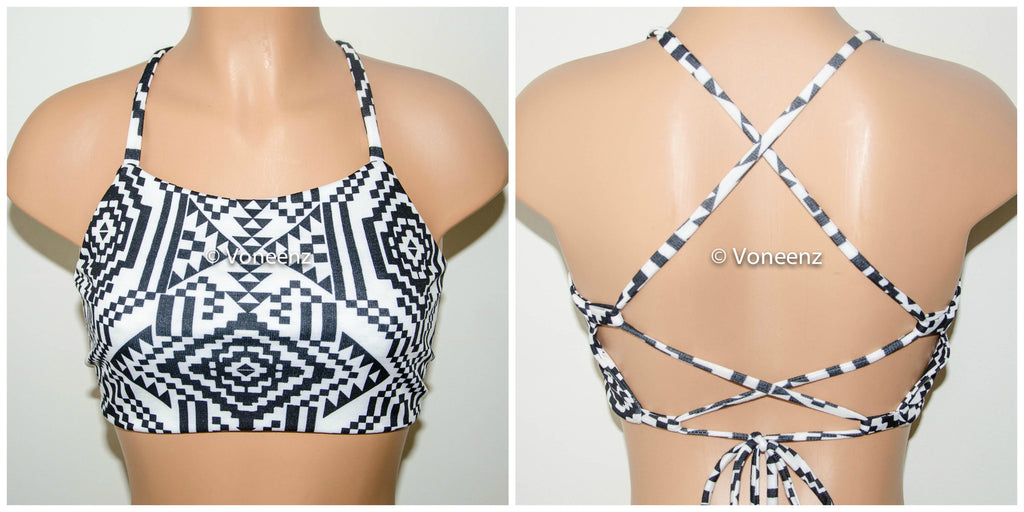 Black and White Aztec Tribal High Neck Halter Bikini Top, Criss Cross Adjustable Swimwear Bikini Top, 4Th Of July Bathing Suit, Festival Top - Voneenz