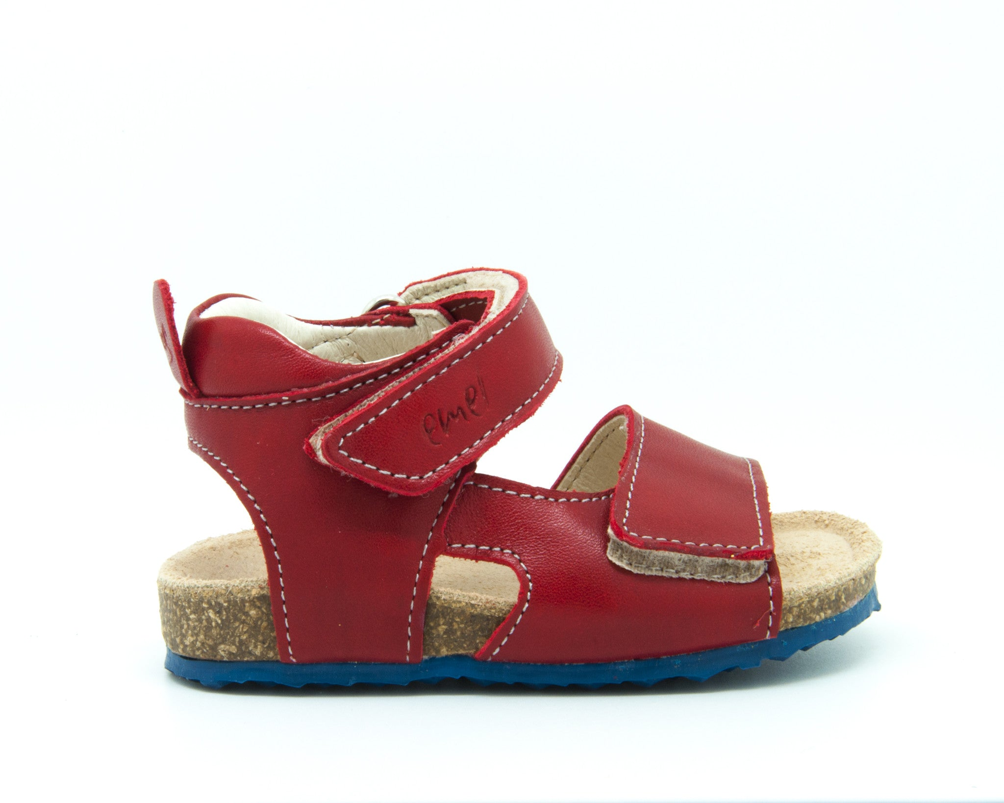 ad20506c30171 Emel Red Leather Double Velcro Cork Bed Sandals (e2508-4) - Emel Shoes