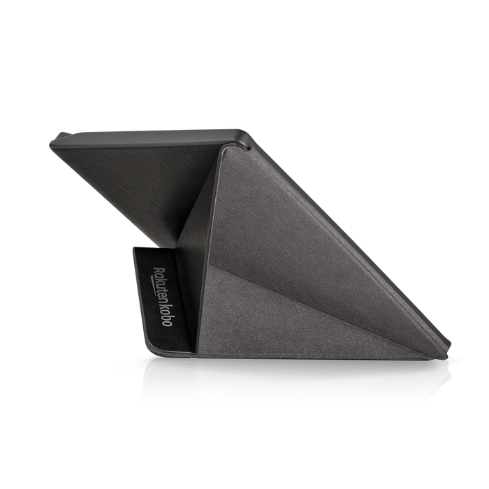 Kobo Forma with black SleepCover folded into a stand, shown from the back