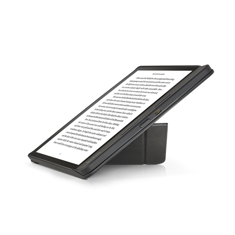 Kobo Forma with black SleepCover folded into a stand, shown from the side