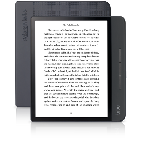 Kobo Forma front and back positioned in portrait