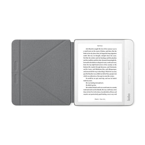 White Kobo Libra H2O with SleepCover, folded into a stand