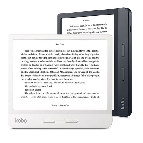 Kobo Libra H2O in black and white, positioned in portrait and landscape