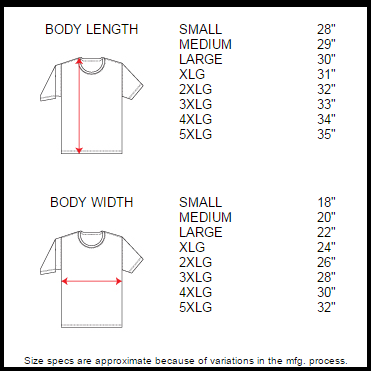 Size Chart for CCwear Holster Shirts