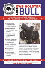 "OWB Holster ""The Bull"" Model Belt Holster - Concealed Carry Wear  - 10"