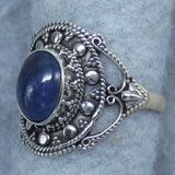 Size 10.5 Natural Tanzanite Boho Ring - Sterling Silver - Hand Made - 261849