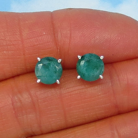 3.1ctw Natural Emerald Stud Earrings - Raw Genuine Emerald - 7mm Round - Post Earrings - jy181106
