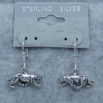 Tiny 925 Sterling Silver Mountain Lion Panther Earrings - Leverback Dangle - 4.7g - Leopard Puma Wild Cat - 240990