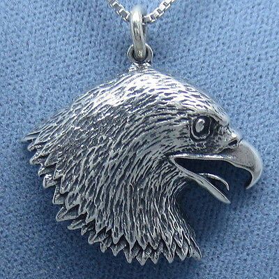 Eagle Head Pendant Necklace - Sterling Silver -- E210
