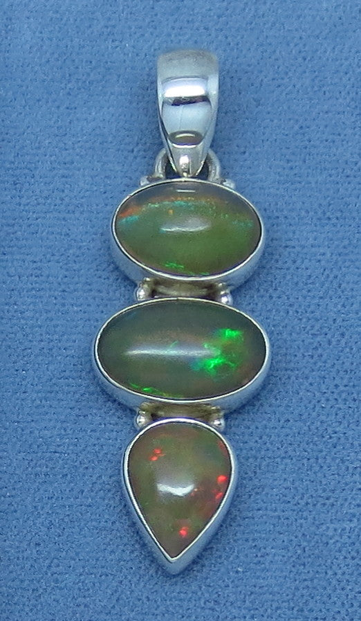 Large Ethiopian Opal Pendant - Sterling Silver - Three Stone - Genuine Welo Opal - 363308