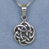 Small Round Celtic Knot Pendant Necklace - Sterling Silver - C576