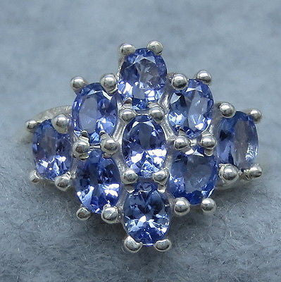 Size 9 Natural Tanzanite Cluster Ring - Sterling Silver - 261510