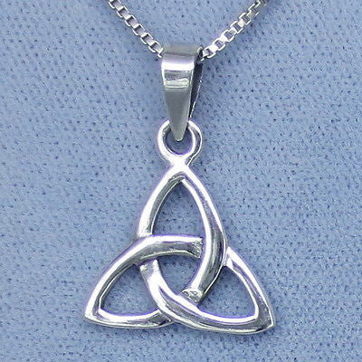 Celtic Trinity Knot Pendant Necklace - Sterling Silver -- P667