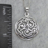 Celtic Knot Pendant Necklace - Sterling Silver - C325