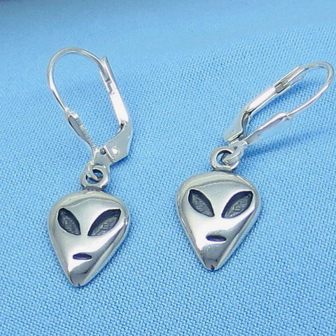 Tiny Sterling Silver Alien Earrings - Leverback Dangles - UFO - p160873