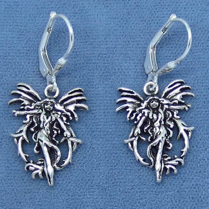 Amy Brown Fire Element Fairy Earrings - Sterling Silver - Leverback