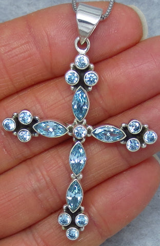 Large Genuine Blue Topaz Cross Necklace - Sterling Silver - Victorian Design - Hand Made - C142019