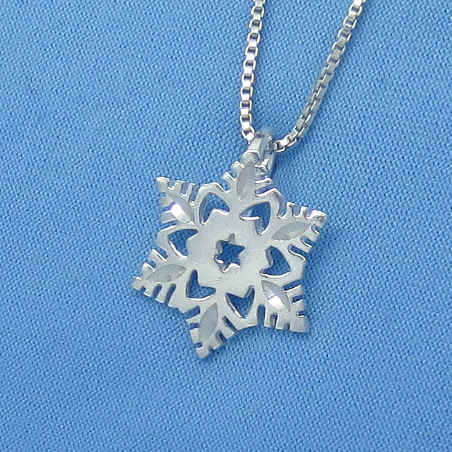 Sterling Silver Small Snowflake Necklace - Sparkly Diamond Cut - p150361