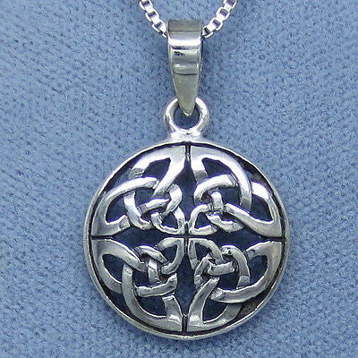 Celtic Knot Sterling Silver Small Round Pendant Necklace - M137