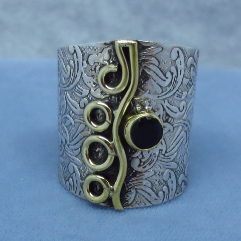 Size 9.5 Black Onyx Wide Band Ring - Sterling Silver - Two Tone - Floral Pattern - 261818