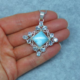Large Genuine Larimar & Blue Topaz Pendant Necklace - Sterling Silver - Filigree - p152803