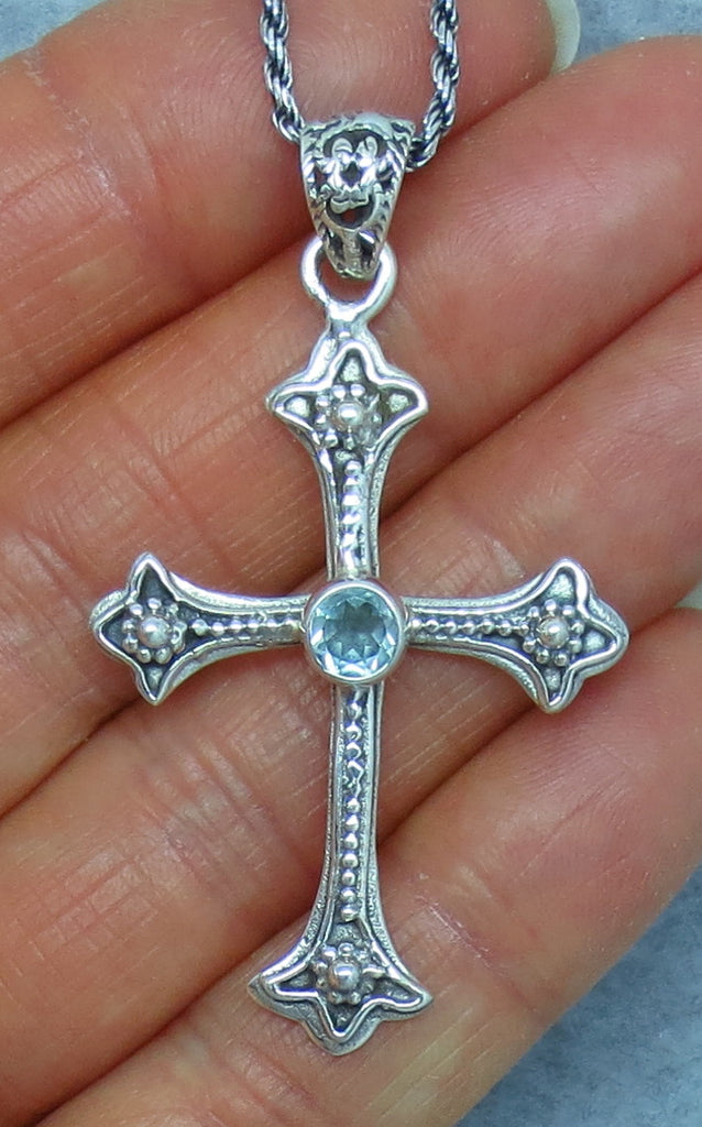 Genuine Blue Topaz Cross Necklace - Sterling Silver - Large Byzantine Design - p171310