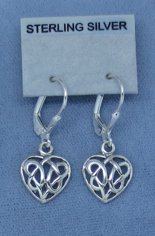 Small Celtic Knot Heart Earrings - Leverback - Sterling Silver - Hand Made -- 180753