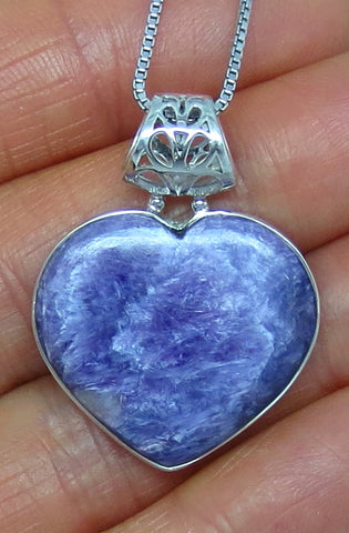 Genuine Charoite Pendant Necklace - Heart - Sterling Silver - jy161519