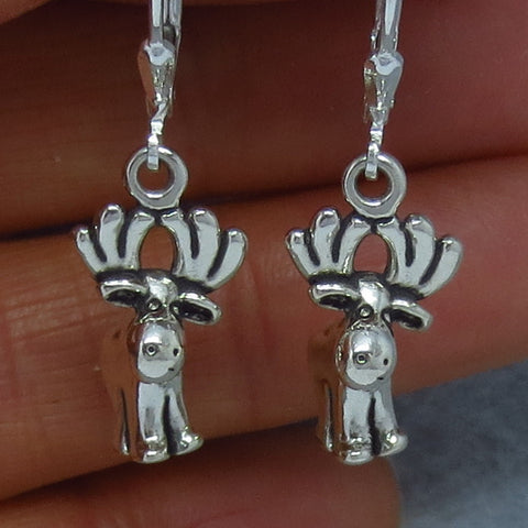ute, Cute 3-D Moose Earrings - Leverback - Sterling Silver - Hand Made - 150945