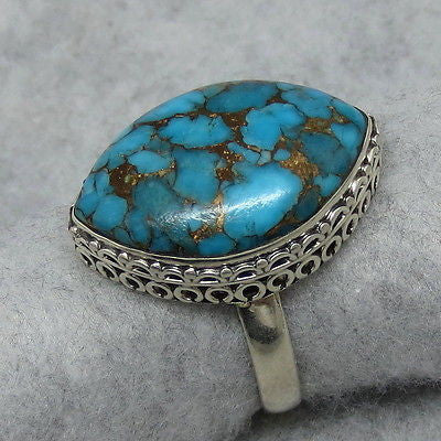 Size 11 Mojave Blue Copper Turquoise Ring - Sterling Silver - R362049