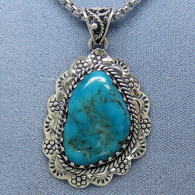 Arizona Turquoise Western Pendant Necklace - Sterling Silver - P124