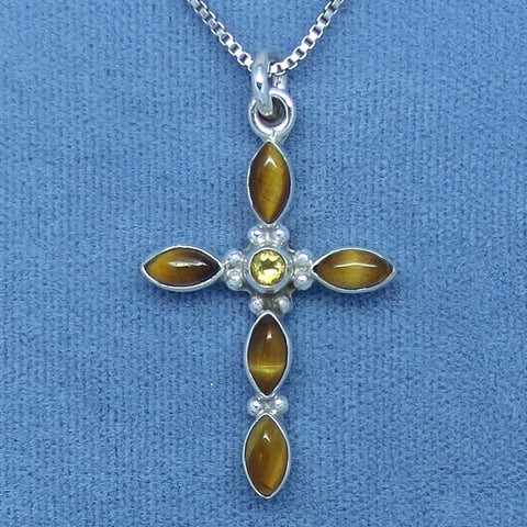 Tiger Eye & Citrine Cross Pendant Necklace - Sterling Silver - su150919