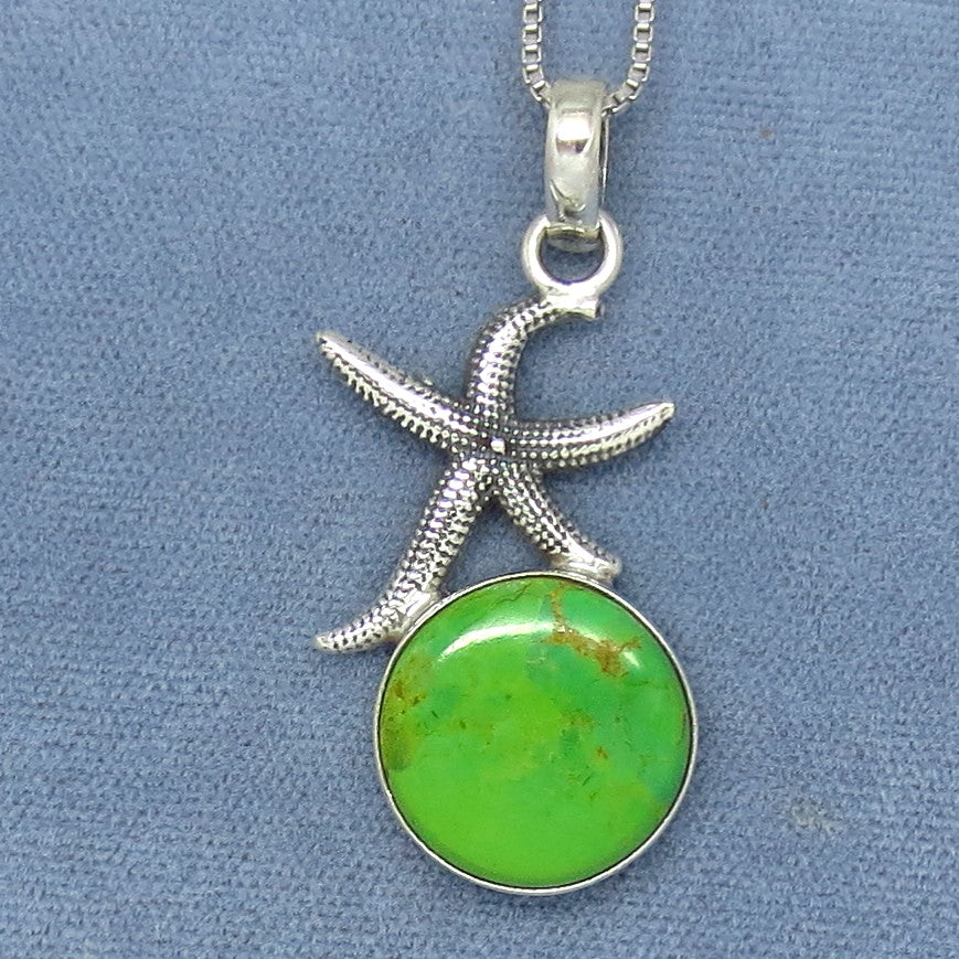 Mojave Green Turquoise Starfish Pendant Necklace - Sterling Silver - Sea Star -- s141203