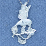 Large Hummingbird & Flower Necklace - Sterling Silver - Handmade - H250909