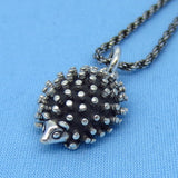 Sterling Silver 3-D Hedgehog Necklace - Rope Chain - Handmade - p150713