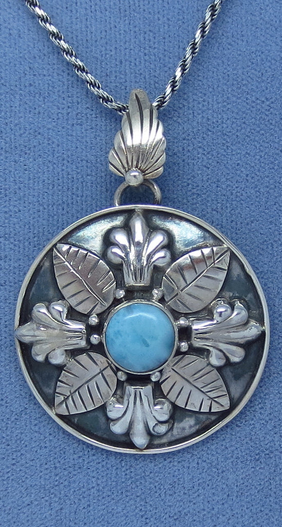 Genuine Larimar Fleur de Lis Necklace - Sterling Silver - Rope Chain - Hand Made - L161753