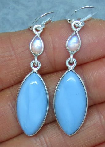 Owyhee Opal Earrings - Sterling Silver - Leverback - Rainbow Moonstone Accent - Marquise Long Dangles - Idaho Opal - 151401
