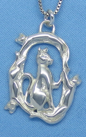 Sterling Silver Large Cat & Kittens Pendant Necklace -- p161098