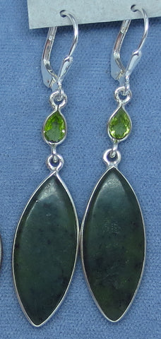 Genuine Jade & Peridot Earrings - Leverback - Sterling Silver - Long Dangles - Marquise - Handmade - 171508