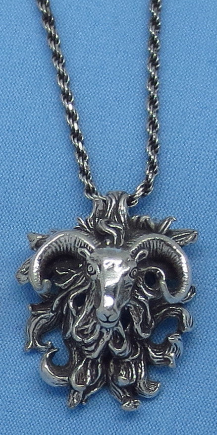 Sterling Silver Highland Sheep Ram Necklace - Aries - Horoscope - Zodiac - p150875