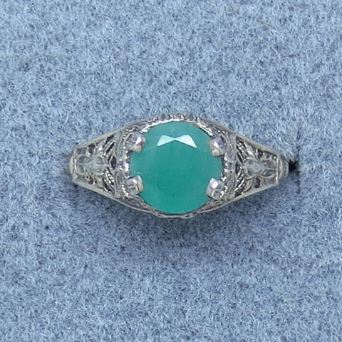 Size 5.75 7mm Genuine Emerald Victorian Filigree Ring - Sterling Silver - Dainty - Handmade - c171593
