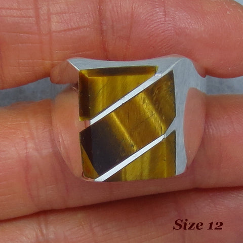 Size 12 Mens Tiger Eye Ring - Sterling Silver - Inlay - Taxco - Handmade - 264523