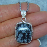 Snowflake Obsidian Pendant Necklace - Sterling Silver - Filigree Design - Cushion Cut - Rectangle - p171379