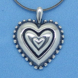 "Sterling Silver 24"" Whimsical Heart Necklace - Antiqued - Oxidized - Beaded Edge - Handmade - p150887"