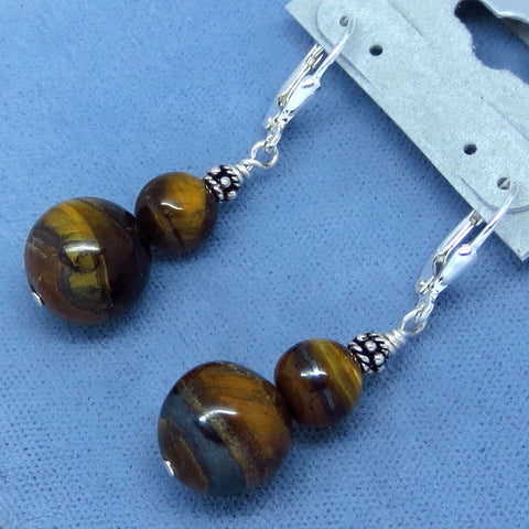 Tiger Eye Earrings - Leverback - Sterling Silver - 8.4g - Handmade
