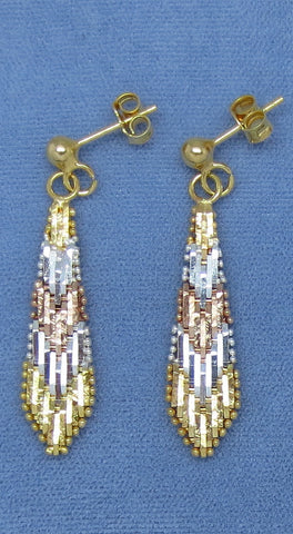 "1-5/8"" Tri Color Riccio Earrings - Sterling Silver - 22k Gold Plated - Long Dangles - 171302"
