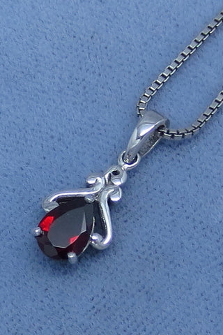 Tiny Genuine Garnet Necklace - Sterling Silver - Victorian Filigree Design - Pear Shape - Hand Made -- GP160319
