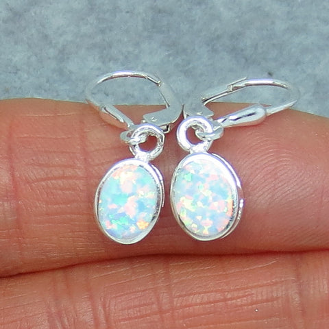 Lab Opal Earrings - Leverback - Sterling Silver - White Lab Created Opal - Oval - Simple - 8 x 6mm - P63821