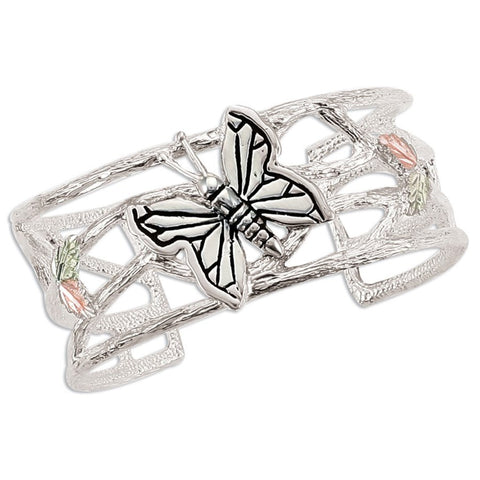 Landstrom's Black Hills Gold on Silver Flutter Butterfly Cuff Bracelet - Sterling Silver with 12K Solid Gold accents - Made To Order -  MRLBR253C