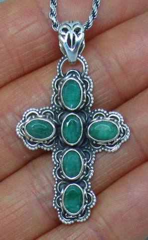 Genuine Emerald Cross Necklace - Sterling Silver - Victorian Design - Antique Design - Filigree - Handmade -- p162013